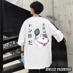 Áo Thun Nam Form Rộng Hàn Quốc In Hình Mèo Thần Tài Độc Đẹp Vải Dày Mịn Thoáng Mát, Thiết Kế Thời Trang, Kiểu Dáng Năng Động Trẻ Trung