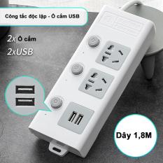 Ổ cắm điện đa năng thông minh JIASHI 2 cổng USB 5v sạc nhanh, ổ chịu tải 2500W, tiết kiệm 30 kilowatt giờ dây nối 1,8m OCD01 – Bảo hành 6 tháng