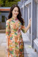 Bộ áo dài truyền thống họa tiết lá thu màu cam (Cả bộ áo kèm quần)