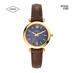 Đồng hồ nữ Fossil Carlie Mini Three-Hand Dark Brown dây da ES4968 – màu nâu