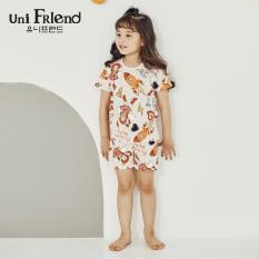 Đồ bộ mặc nhà bé gái Unifriend thun ngắn hoạ tiết vũ trụ U9SSTS25