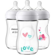 Bình sữa Avent họa tiết-Bình sữa Avent Natural cổ rộng 260ml-HÀNG XÁCH TAY MỸ-CAM KẾT CHÍNH HÃNG