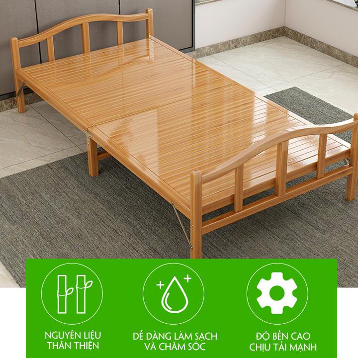 Giường tre gấp gọn, chất liệu tre cao cấp thân thiện, an toàn cỡ 80*195