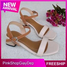 (Miễn ship) Giày sandal cao gót nữ PinkShopGiayDep 3 phân gót bầu độc đáo phối màu thời trang