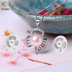 Bộ dây chuyền liền mặt và bông tai trang sức bạc Ý 925 Huệ Ngân – Ngọc trai cỏ ba lá PP1170-RYE140678