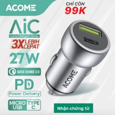 [ Bảo Hành 12 Tháng ] ACOME ACC02 Củ Sạc Ô TÔ 2 cổng sạc USB và PD sạc nhanh PD QC 3.0 công suất 27W – Hàng Chính Hãng
