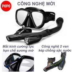 Bộ kính lặn ống thở thế hệ mới ngăn nước 100% với 2 van chống sặc POPO TUO, mặt nạ lặn biển mắt kính cường lực