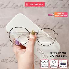 Gọng kính mắt tròn kim loại thời trang nữ 9901 – Gọng kính cận Lilyeyewear kèm quà
