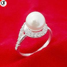 Nhẫn nữ ngọc trai nhân tạo size 8ly chất liệu bạc thật không xi mạ trang sức Bạc Quang Thản – QTNU69