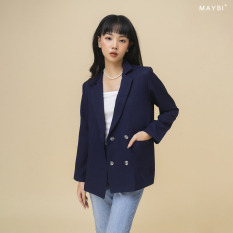 MAYBI – Áo blazer phom rộng màu xanh đen – Dark blue Blazer