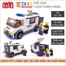 Lego xe xây dựng và nhân viên chở hàng, Lego city thành phố Swat 163 mảnh lego cho bé