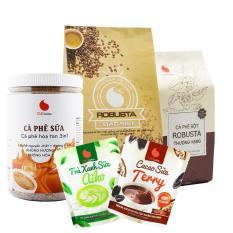 SET Làm quen 2, cà phê Đặc biệt 500g, cà phê Thượng hạng 100g, cà phê sữa hũ 500g, cacao sữa Terry 50g, matcha sữa Aiko 50g – Light Coffee