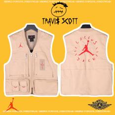 ⚡️[Mirror Quality] – Áo khoác Travis Scott Cactus Jack x Jordan Utility Vest Desert/Khaki/University Red