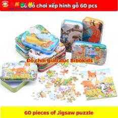 Bộ đồ chơi xếp hình gỗ 60 miếng hộp sắt cho bé