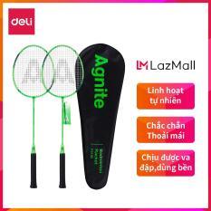 DELI Vợt cầu lông gồm 2 cây vợt + 1 bao đựng vợt Xanh – 1 bộ WF2100