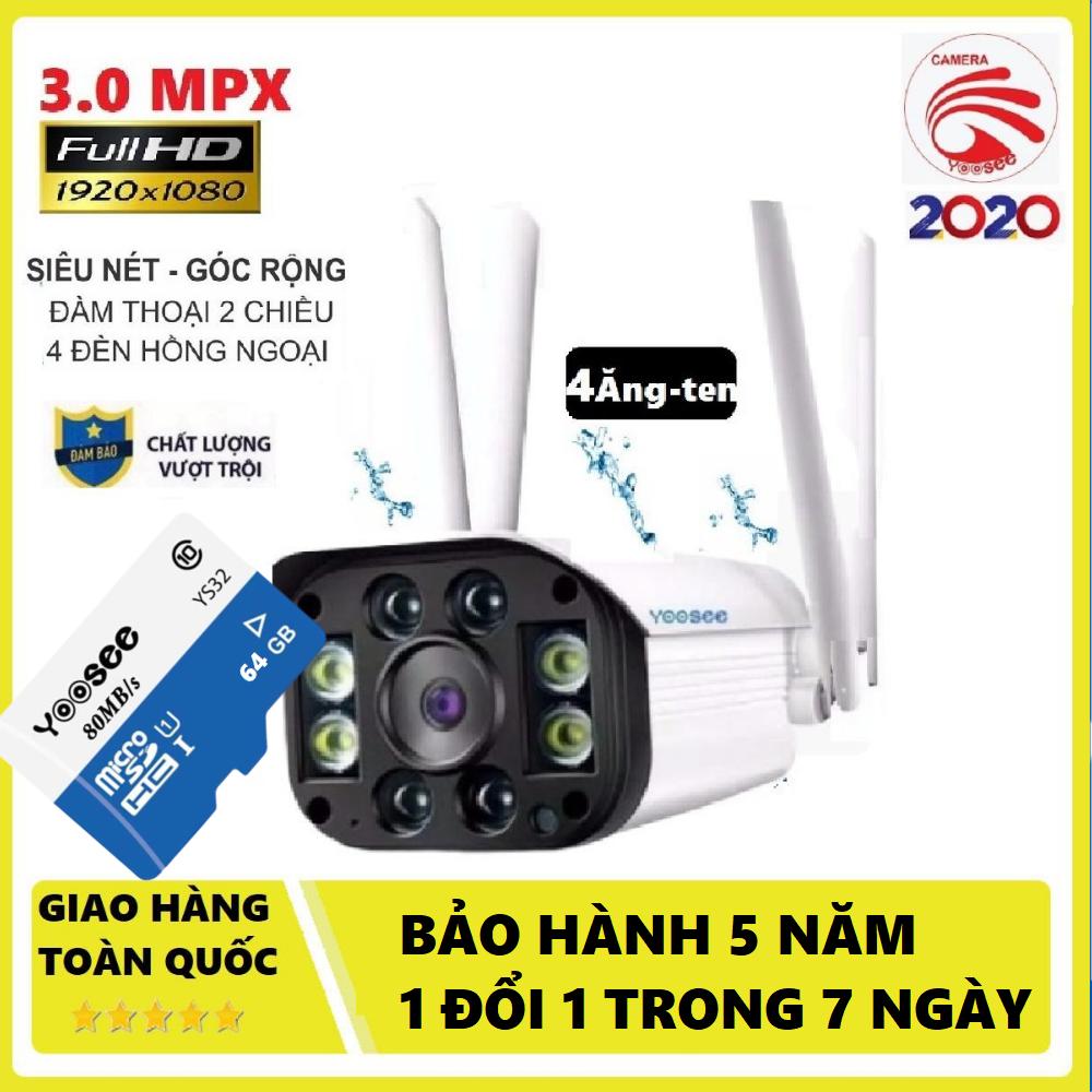 (Hình ảnh rõ nét -KÈM THẺ NHỚ chuẩn YOOSEE 128 GB)Camera wifi ngoài trời Yoosee 4 râu-BH 24 tháng 1 đổi 1 trong 1 tháng