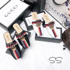 giày sục GC đen trắng đa sọc