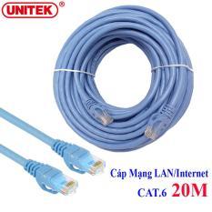 Dây cáp mạng LAN Internet bấm sẵn chuẩn CAT 6 Unitek Y-C815ABL dài 20m ( cat6 hỗ trợ 1000Mbps)