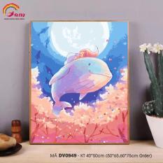 Tranh tự vẽ tự tô màu theo số sơn dầu số hóa Gam Tranh trừu tượng cá voi xanh và cô gái nhỏ DV0949