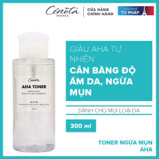 Nước hoa hồng dành cho da mụn không chứa cồn, corticoid – Giúp cân bằng độ ẩm và se khít lỗ chân lông Cénota Aha Toner 300ml