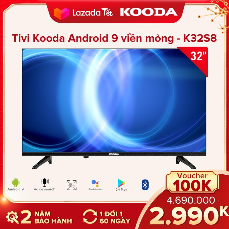 Tivi Kooda 32inch HD hệ điều hành Android 9-TV viền mỏng – K32S8 – Remote Bluetooth tích hợp- Tivi giá rẻ chất lượng – Bảo hành 2 năm
