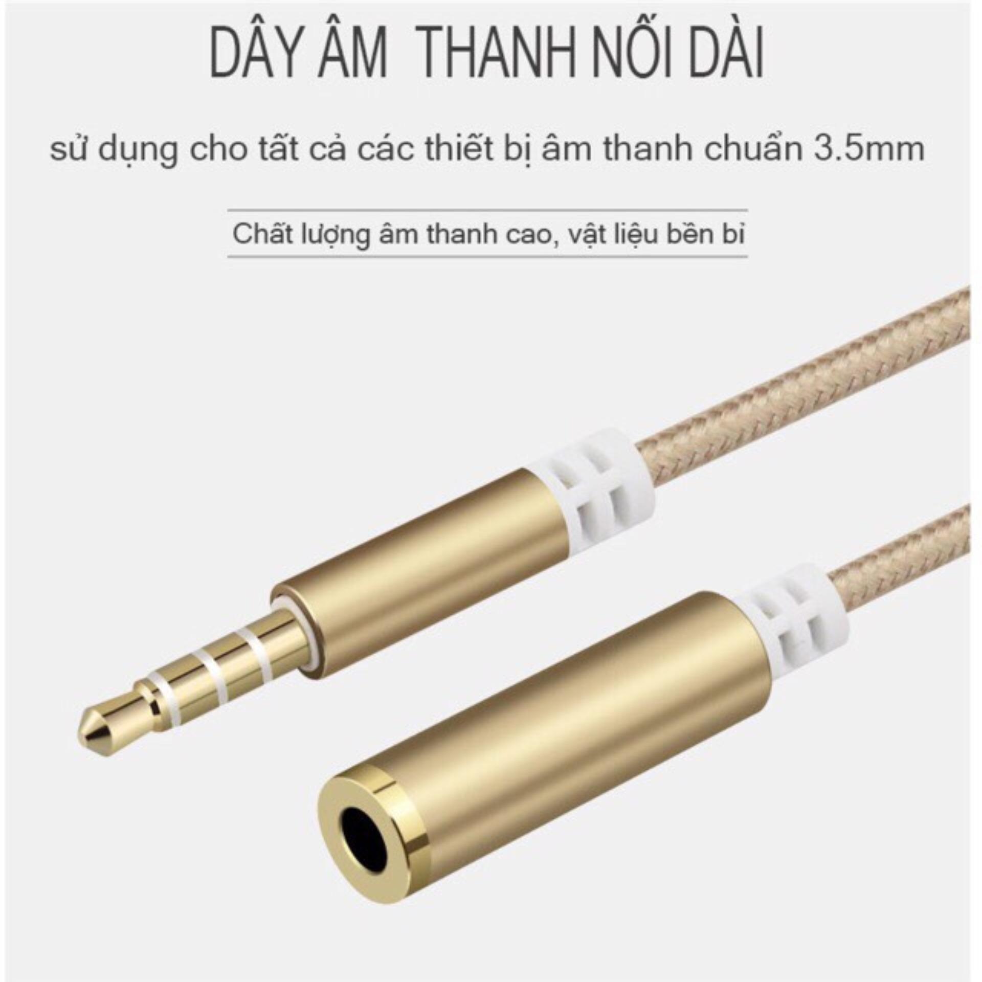 Dây nối dài âm thanh jack 3.5mm 4 khấc AUX cho tai nghe và các dây âm thanh chuẩn 3.5mm