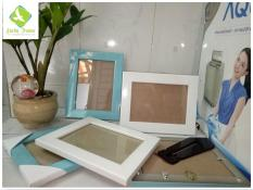Bộ 5 khung hình 13x18cm trắng xanh để bàn