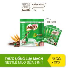 Thức uống lúa mạch Nestlé Milo sữa 3 trong 1 – bịch 10 gói 22g