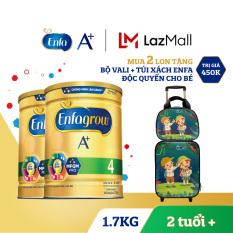 Bộ 2 hộp sữa bột Enfagrow 4 cho trẻ trên 2 tuổi 1.7kg + Tặng 1 bộ vali + túi xách cho bé Độc quyền Enfa & Lazada