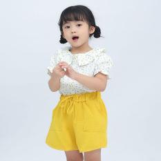 TANOSA KIDS Set bộ bé gái chất liệu vải thô mềm mát hoạ tiết hoa nhí cho bé từ 12-28kg