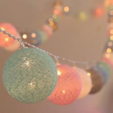 Dây Đèn Cotton Ball Dài 4 Mét 20 Banh Led, Banh Vải, 5 Màu Pastel, Xài Điện 220 V, Có Phích Nối Dài Dây