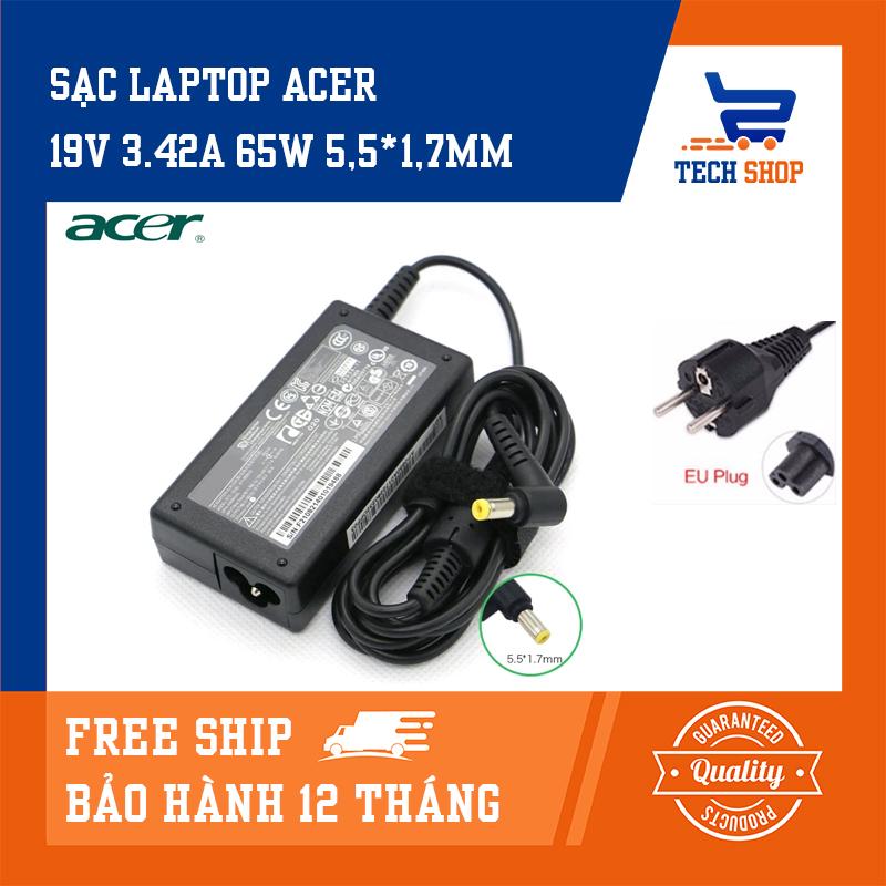 [FreeShip]Sạc laptop Acer giá rẻ TechShop công suất 19V 3.42A 65W 5.5*1.7mm dùng cho Acer Aspire 1200, Acer Aspire 1650,...