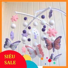 """Treo nôi cũi cho bé 0 – 6 tháng tuổi mẫu """"Cánh bướm Hồng"""" xinh xắn, bắt mắt – Hàng Handmade Từ Vải Nỉ Dạ Cao Cấp"""
