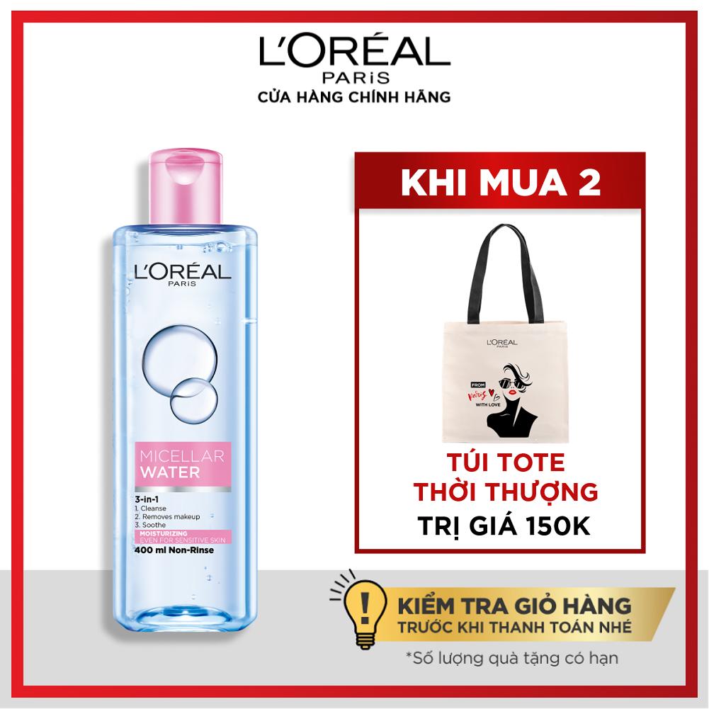 [Mua 2 tặng túi tote] Nước tẩy trang dưỡng ẩm L'Oreal Paris Micellar Water 400ml (màu hồng)