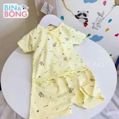 Bộ quần áo cộc Unchi cúc lệch vải sợi tre cho bé sơ sinh, bộ quần áo cho bé sơ sinh