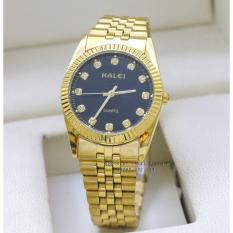 Đồng hồ Nam dây thép mạ vàng chống nước HALEI HA356