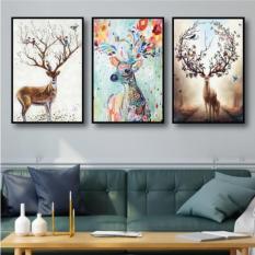 Bộ 3 tranh treo tường hươu hoa tài lộc