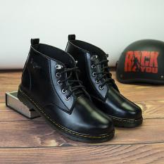 Giày Đốc nam cổ lửng da bò nam cao cấp ELMEE, giày boots nam da trơn bóng tuyệt đẹp – GBD02