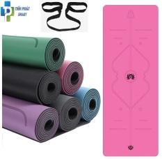 Thảm Tập Yoga Định Tuyến Da PU 5mm – Màu Hồng+ Kèm Túi Đựng Cao Cấp và Dây Buộc Thảm Yoga Thảm Tập Gym Định Tuyến Da PU