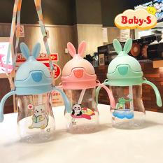 [HCM]Bình uống nước cho bé Bình nước cho bé 280ml hình tai thỏ đáng yêu bằng nhựa PP chịu nhiệt tốt an toàn cho bé yêu có tay cầm tiện lợi Baby-S – SBN008