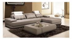 Sofa da cao cấp chữ L Juno Sofa 300 x 180 x 85 cm (Nâu) + kèm bàn như hình