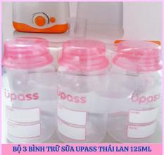 Tặng bút ghi – Bộ 3 bình trữ sữa mẹ Upass Thái Lan 125ml có thể găn thêm núm ti