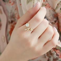 Nhẫn Nữ Nhành Cây Gắn Hoa Đính Đá Màu Vàng