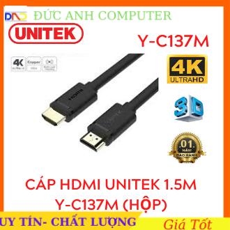 Dây Cáp HDMI 1.5M UNITEK Y-C137M (Hộp) Chuẩn 4K Ultra HD và 3D , Dây HDMI 1.5m, Kết Nối Tivi Độ Nét Cao, 2 Đầu Chuẩn 4k