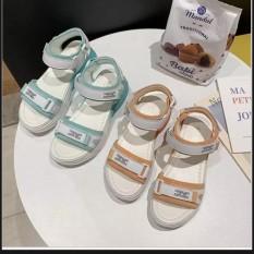 Dép sandal quai hậu 2 quai dán chắc chắn , đế nhẹ siêu xinh , dễ mang 2 màu cam và xanh ( Giá sale )