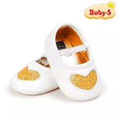 Giày tập đi cho bé gái từ 0 – 18 tháng tuổi chất vải mềm mịn êm chân hỗ trợ tốt cho bé tập đi hoạ tiết trái tim nhũ xinh xắn Baby-S – STD5
