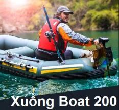 Xuồng Hơi Cao Su, Thuyền Bơm Hơi, Xuong Bom Hoi Cau Ca Xuồng Boat 200 chống chịu tốt dưới sự ảnh hưởng của sự cọ xát, va đập và nắng mặt trời, Chịu Lực Lên Tới 200 Kg, Tặng phiếu bảo hành 1 năm Toàn quốc