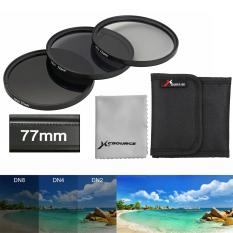 OneTwoFit 77mm Bộ ống kính lọc ND2 + ND4 + ND8 Màu xám mật độ trung bình & Ba túi lọc & Vải ống kính đơn LF290
