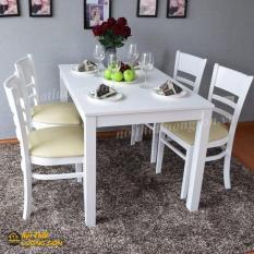 Bàn ăn Cabin Hàn quốc 4 ghế màu trắng