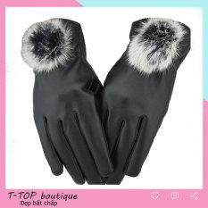 Găng tay da cảm ứng, găng tay da nữ cao cấp, găng tay lót lông ấm áp cho nữ